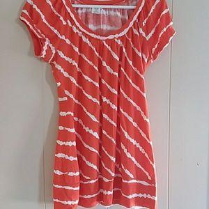 Maurices | Orange & White Striped Shirt